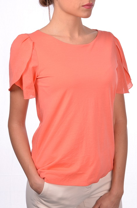 Jersey t-shirt with tulip sleeve
