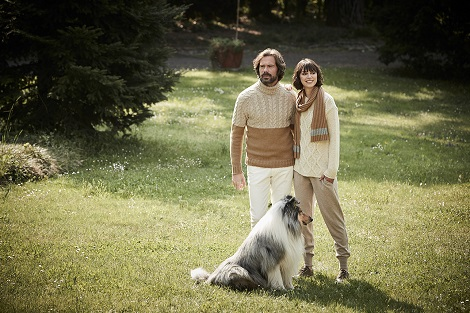 Paolo wears our Airwool two-tone cable turtleneck, Beatrice wears our argyle pattern wool blend crew neck sweater