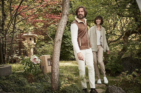 Paolo wears our eco-mouton and knit jacket, Beatrice wears our loop stitch jacket