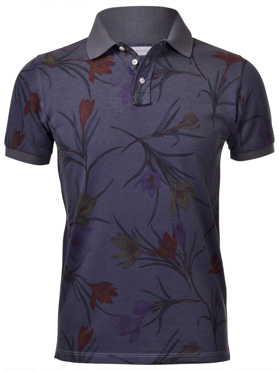 Flower printed cotton polo