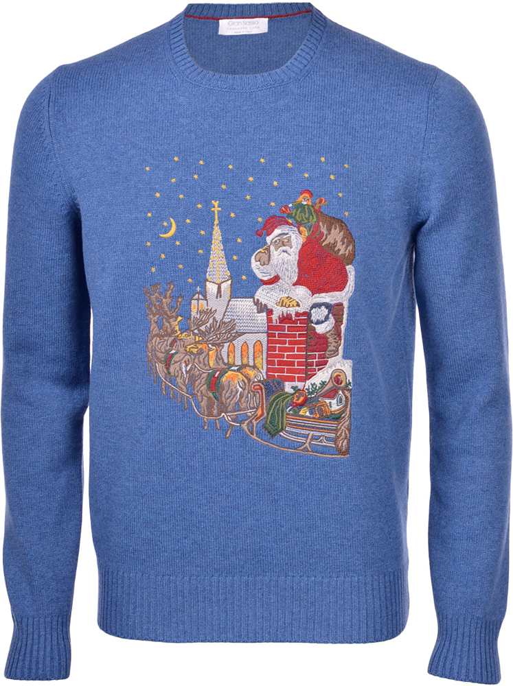 Christmas-themed cashmere blend crew neck