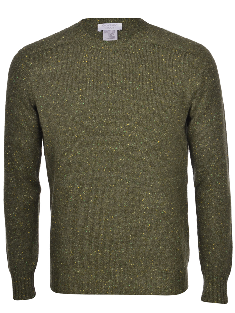 Pure cashmere tweed crew neck sweater