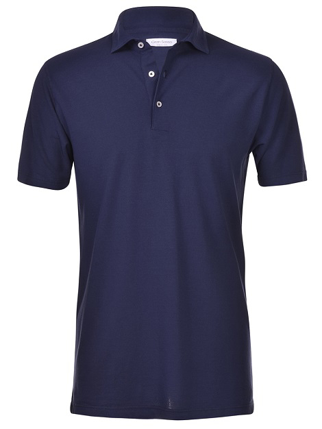 Ultralight cotton crepe jersey short-sleeved polo shirt