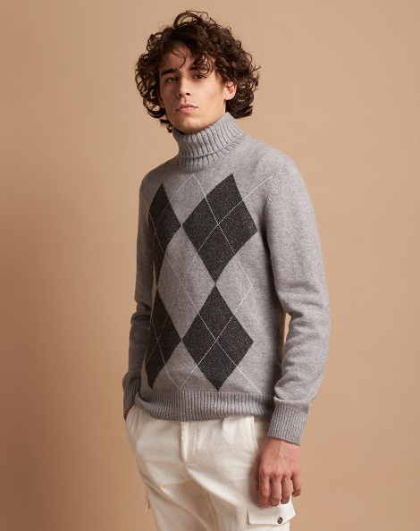 Mélange turtleneck sweater in cashmere, wool, and silk with mouliné effect argyle pattern