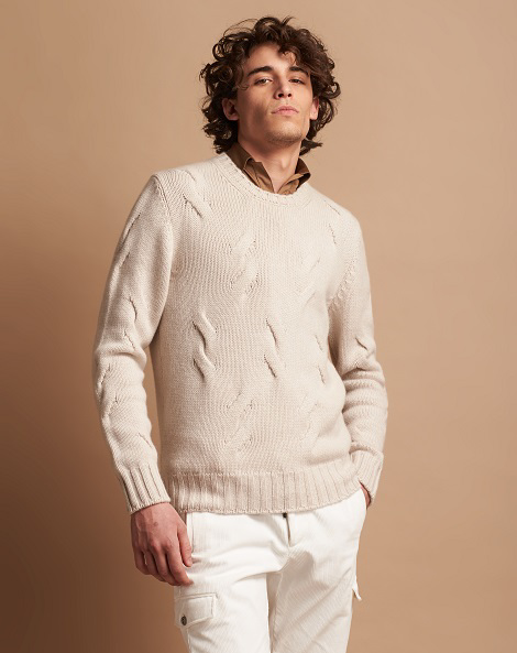 5-ply crew neck sweater in pure cashmere with macro braids