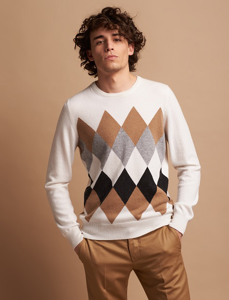 Crew neck sweater in pure cashmere with colour-block diamond pattern