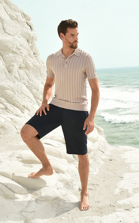 Pure cotton short-sleeved knit polo shirt